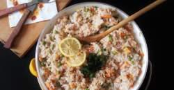 Hráškové rizoto slososom (pstruhom lososovitým)