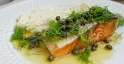 Fotorecept: losos s kaparmi, kôprom a horčicovou kašou
