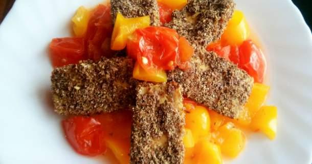 Tofu vtrojobale s pečenou zeleninou