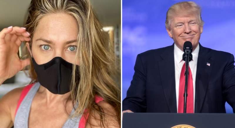 Jennifer Aniston v rúšku prosí Američanov, aby ho nosili, Donald Trump stále verí, že koronavírus zmizne. Situácia v Amerike je zlá, počet nových prípadov koronavírusu dosiahol maximum od začiatku pandémie!